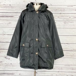 Dennis Basso Water Resistant Quilted Coat XL Black